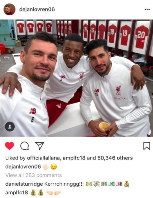 Look at comments below Lovren's Instagram image