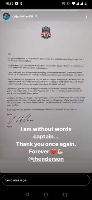 Hendo's letter to lovren. Pure class from the captain!